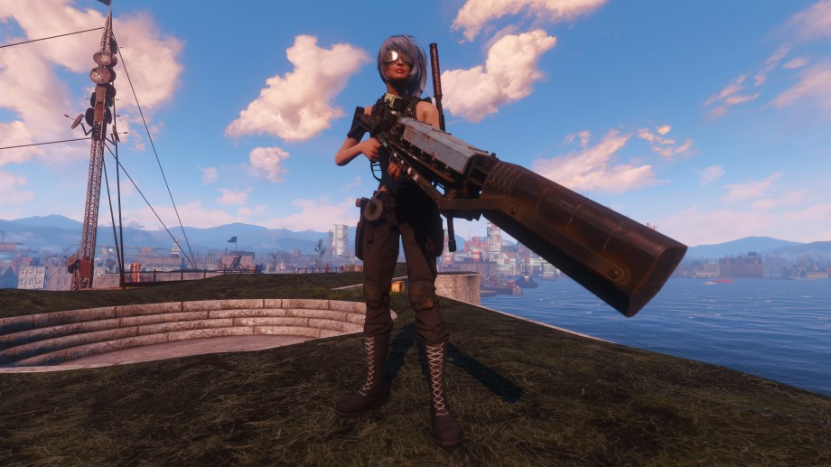 Image of Mel's Fallout 4 Character, holding her favourite, rather large, gun.